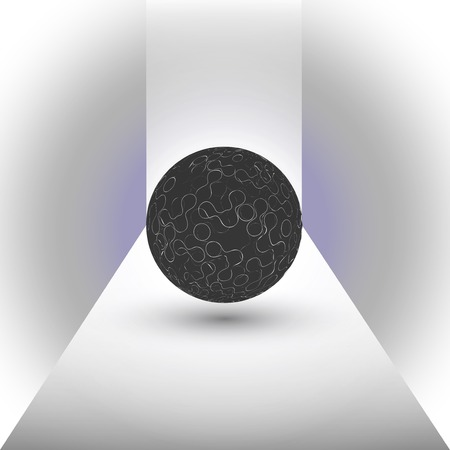 abstract black sphere on a blue background vector. Vector