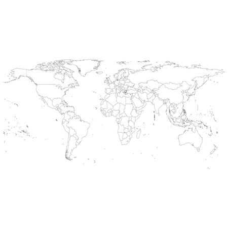 Gray Political World Map Vector, light design vector illustration Çizim