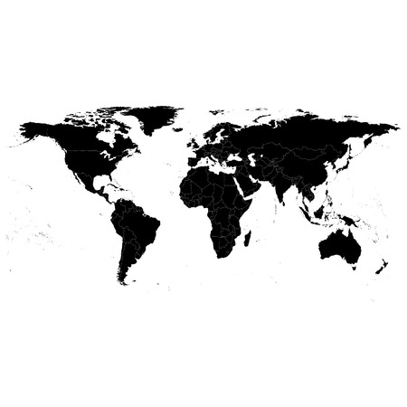 world map vector: Black Political World Map, light design vector illustration