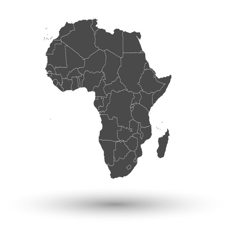 Africa map with shadow background vector illustration