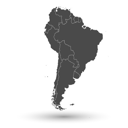 South America map with shadow