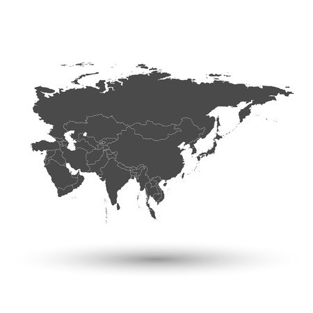 Eurasia map with shadow background vector illustration Illustration