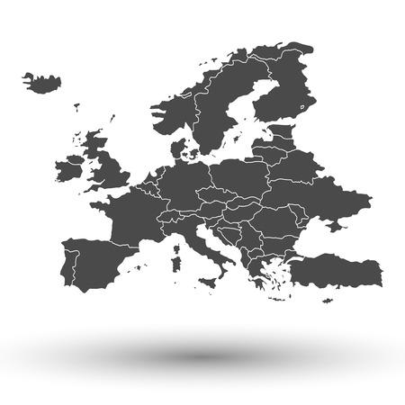 mapa politico: Correspondencia de Europa con la sombra de fondo ilustración vectorial