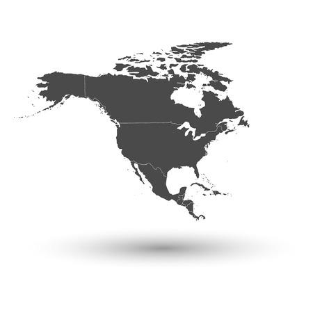 north america map: Nord America mappa con ombra sfondo illustrazione vettoriale