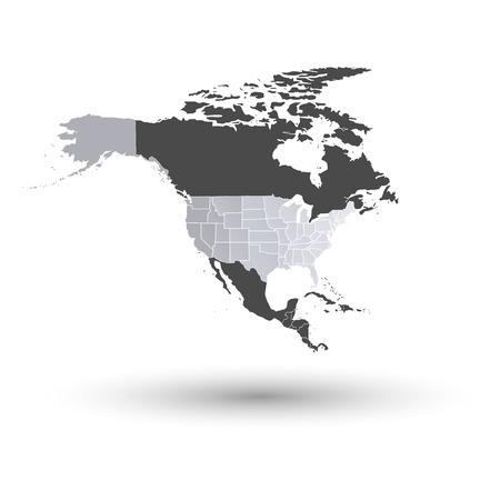 Mapa de América del norte con la sombra de fondo vector