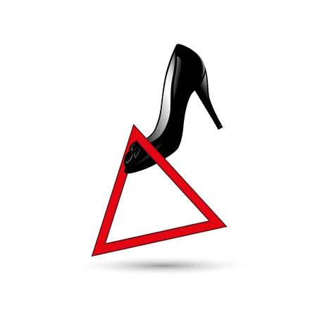 shoes in the warning sign vector illustration.