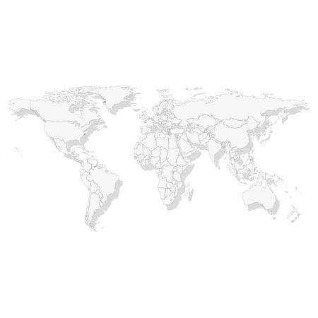 Grijze Politieke Wereldkaart, licht ontwerp vector illustratie Stock Illustratie