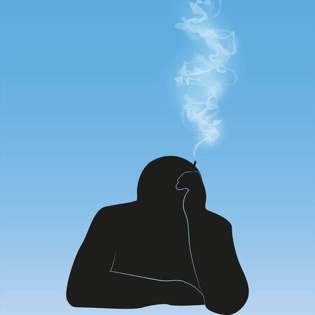 vintage cigar: black silhouette smoking person background vector illustration Illustration