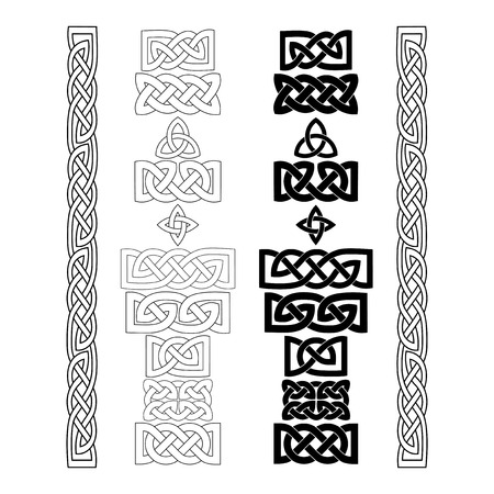 Set of Celtic knots, patterns, frameworks. Vector illustration. Çizim