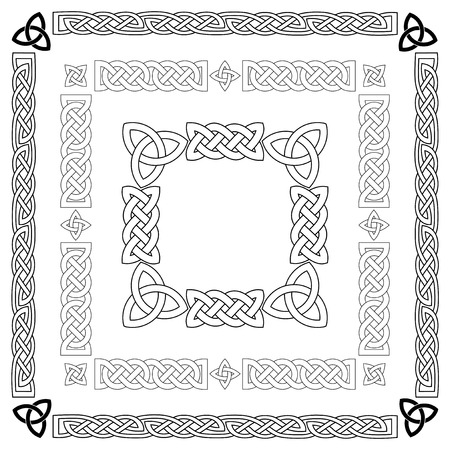 ケルト族の結び目、パターン、フレームワークのセットです。ベクトル イラスト。