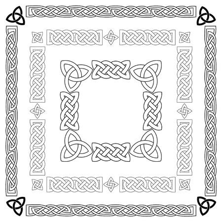 Conjunto de nudos celtas, patrones, frameworks. Ilustración del vector.