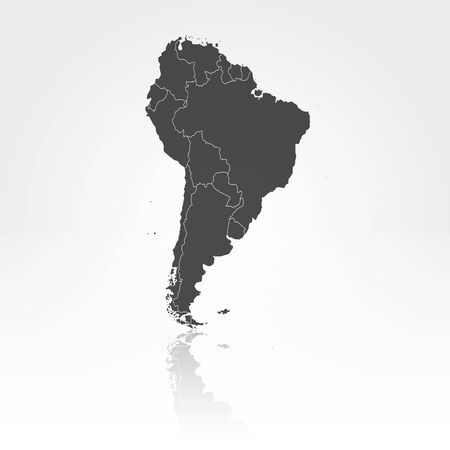 South America map with shadow background vector illustration Vector