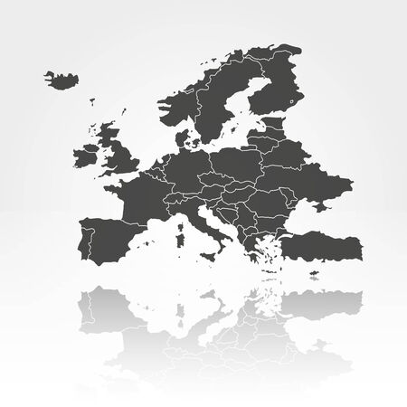 Europe map with shadow background vector illustration Vector