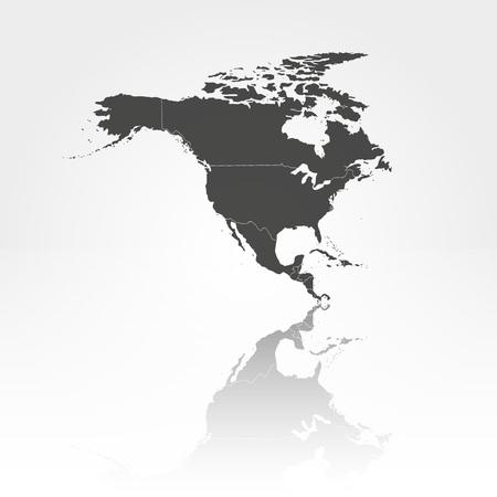 north america map: Nord America con ombra illustrazione vettoriale sfondo