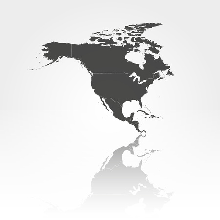 North america map with shadow background vector illustration Vector