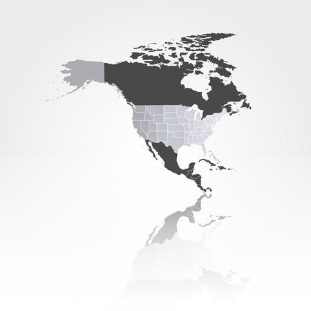 影の背景ベクトル イラスト北アメリカ地図