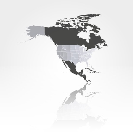 North america map with shadow background vector illustration Ilustração