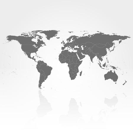 america del sur: Mapa del Mundo Político gris con la sombra de fondo ilustración vectorial