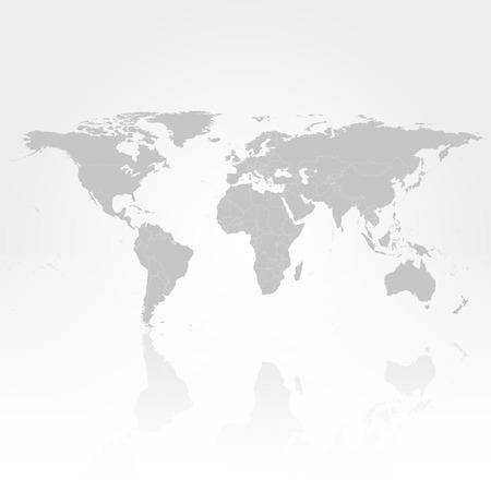 Gray Politieke Wereldkaart met schaduw achtergrond vector illustratie