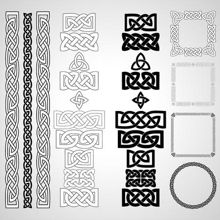 Conjunto de nudos celtas, patrones, frameworks. Ilustración vectorial