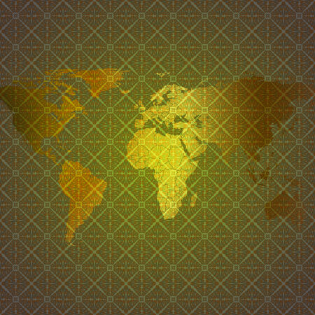 world map vector at an abstract patterned background Vector