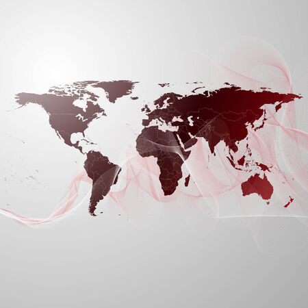 world map on the red smoke background vector. photo