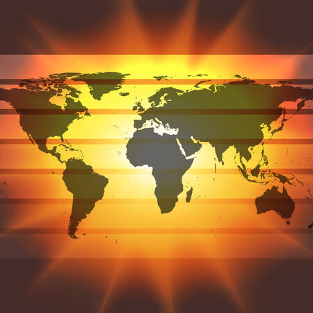 abstract world map on the sunset background vector. photo