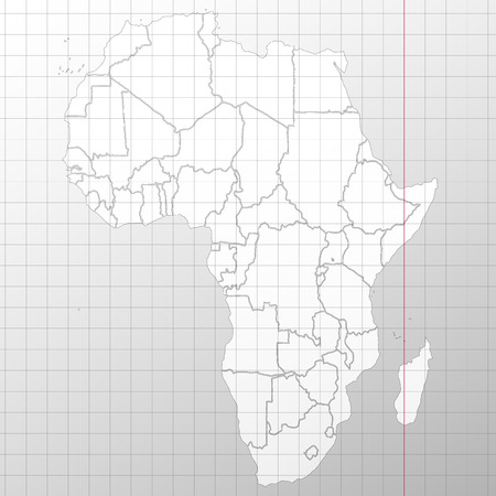 geographical locations: Africa map in a cage on a white background vector