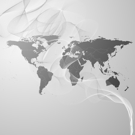 world map on the gray smoke background vector. photo