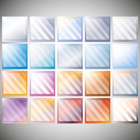 Set of transparent glass on a color backgrounds vector Illusztráció