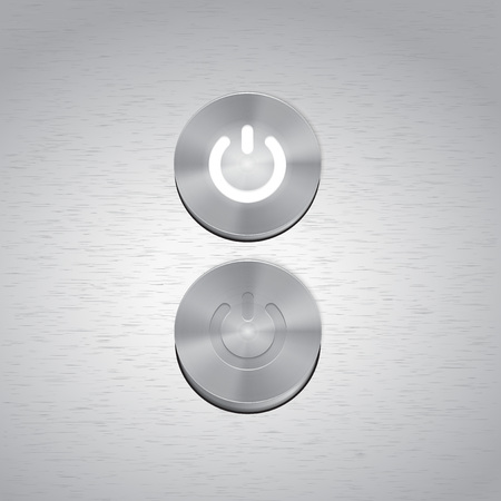 Set of Metal power buttons with white light vector. Vector