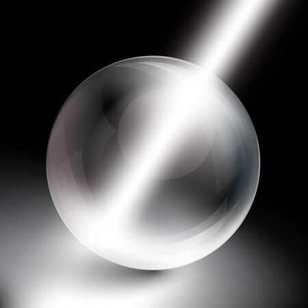 Sphere on black background in the rays of light vector Vector