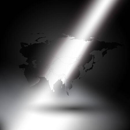 eurasia: Eurasia map in the rays of light on gray background