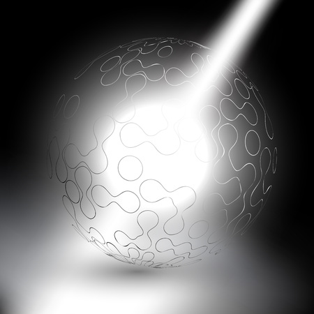 abstract sphere on gray background in rays of light vector Vector