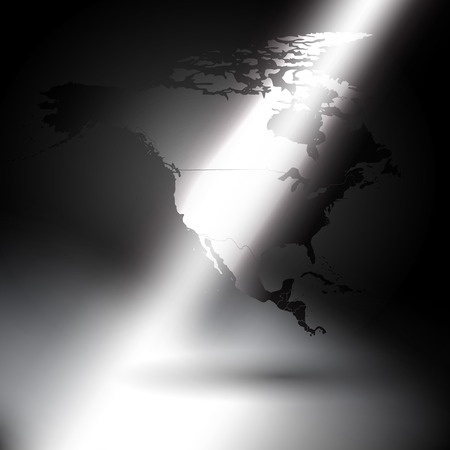 north america map: North america map in the rays of light background.