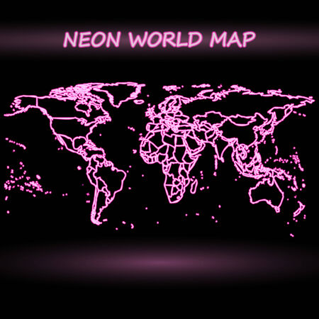 neon world map, dark design vector illustration Vector