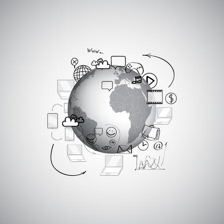 Set of doodle design vector illustration concepts for cooperation Vector