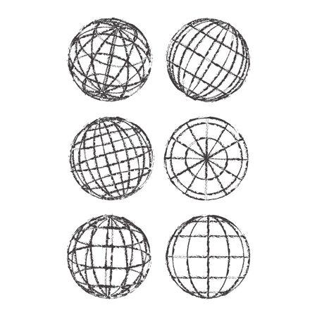 version: Set of abstract globes illustration, vintage version