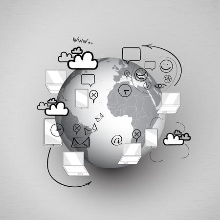 Set of doodle design illustration concepts for cooperation Vector