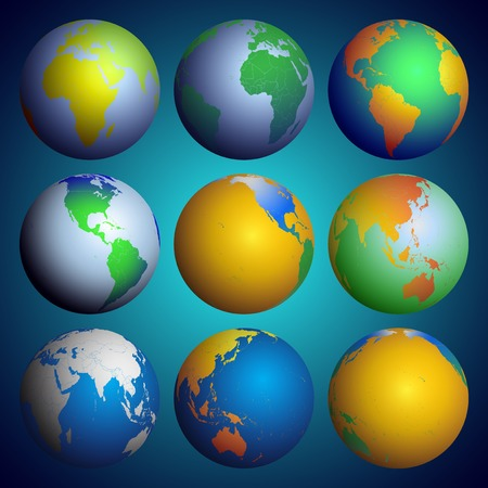 Set of globes Vector