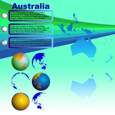 Australia map with shadow on blue background with world globes Vector