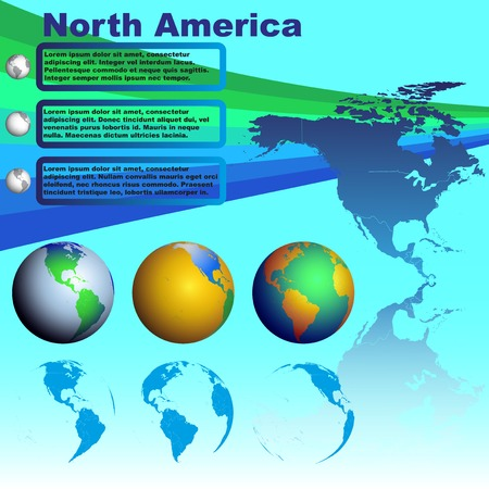 north america map: North America map with shadow on blue background with world globes
