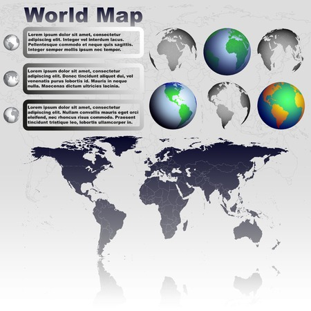 World map with shadow on gray background with world globes vector Vector
