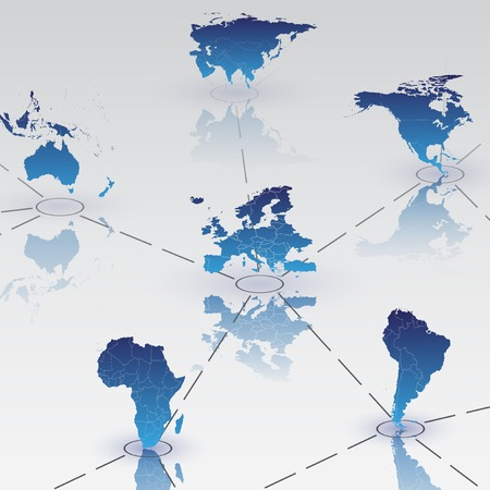 Set of world map continents on blue background with shadow Vector