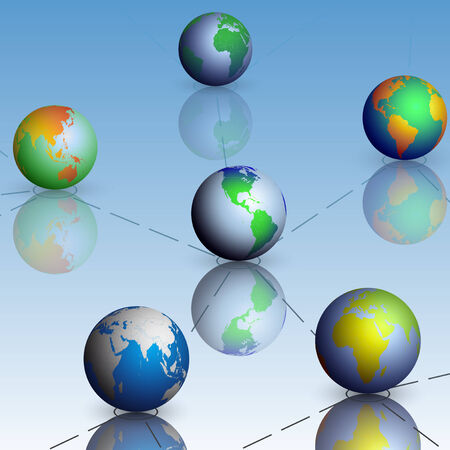 Set of globe world map on blue background with shadow Vector