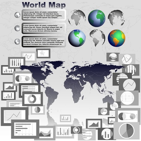 Set of globe world map, flat design graphics and diagrams illustration Vector