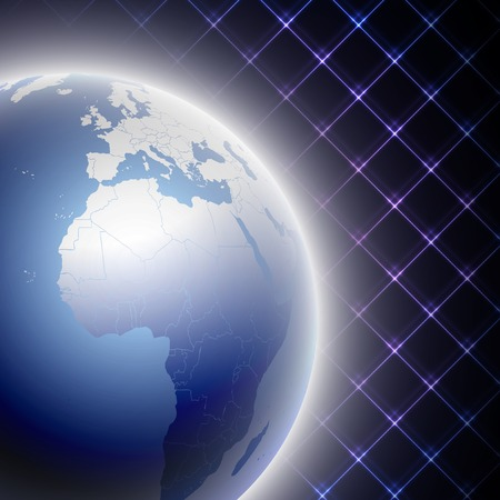 Abstract light blue globe on black background vector illustration. Vector
