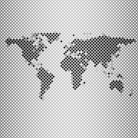 abstract gray mosaic, world map vector illustration. Vector