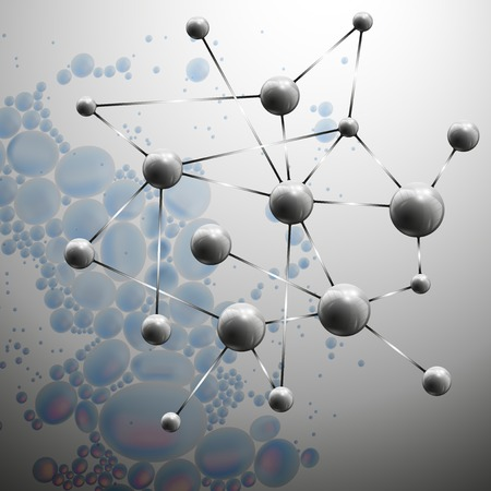 3D Molecule structure on blue background illustration. Vector