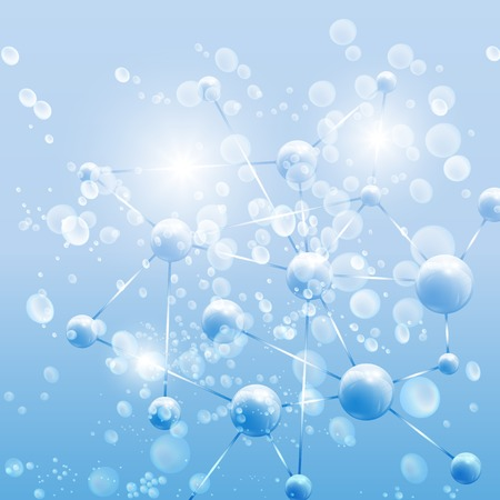 Blue Abstract background, molecule structure illustration. Vector